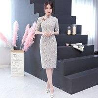New Arrival Fashion Modern Cheongsam Slim Split Qipao Women Dress Chinese Traditional Dresses China Clothing Store Size S 3XL