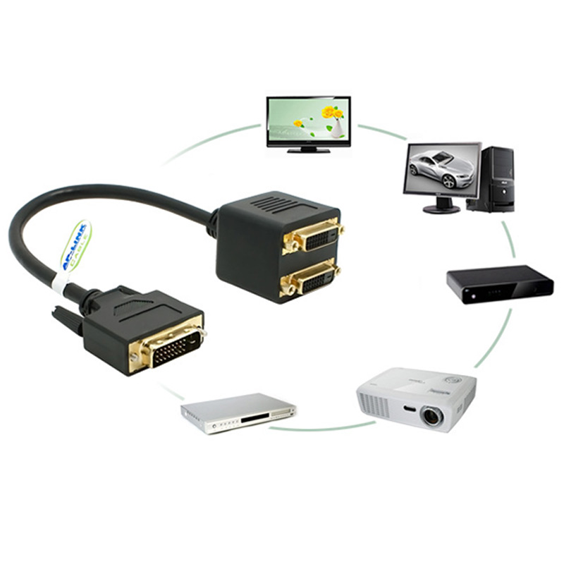 Adaptor DVI-D Male to Dual 2 DVI-I Female Video Y Splitter Cable Adapter Great Deals-15