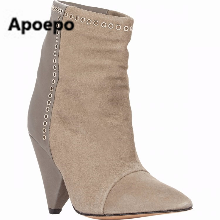 Apoepo New arrival suede leather high heel ankle boots pointed toe fringe ankle wrap women bootie size 35 to 41 party dress shoe apoepo new arrival suede leather high heel ankle boots pointed toe fringe ankle wrap women bootie size 35 to 41 party dress shoe