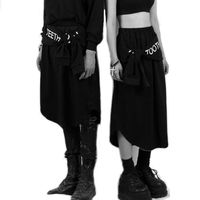 #1630 2017 Spring summer Hip hop pants women Punk Unisex Fake two piece skirt pants Black Hip hop wear Streetwear Women joggers