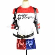 Adult Batman Movie Suicide Squad Harley Quinn T-Shirt Shorts Cosplay Costume Set Women Halloween Christmas Fancy Dress batman suicide squad harley quinn movie cosplay costumes shoes boots high heels custom made for adult women halloween party