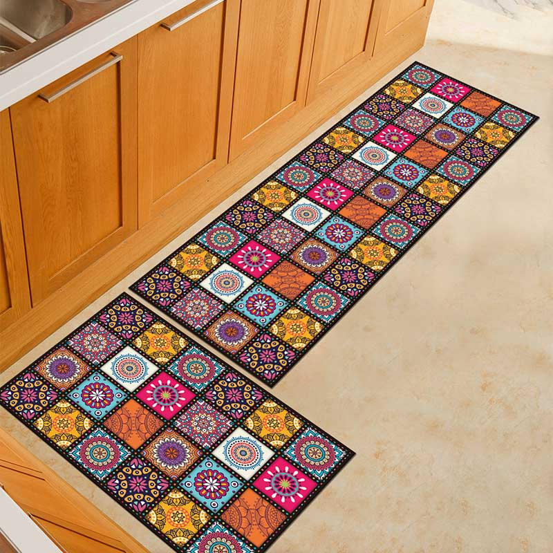 2PCS Kitchen Mats Made With Polyester Material for Modern Kitchen Balcony and Hallway Floor 13
