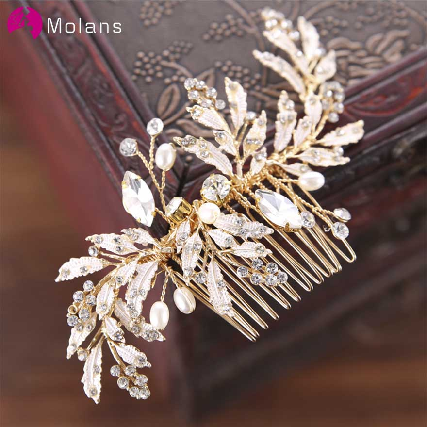 MOLANS Crystal Beads Headdress Sticks Combs Gold Leaf Hairpins For Bride Wedding Accessories Hair Ornaments Bridal Headpieces