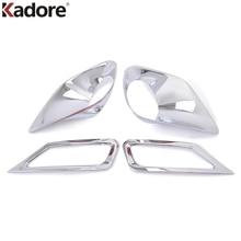 For Toyota RAV4 RAV 4 2013 2014 2015 Auto Front+Rear Foglight Lamp Frame Case Sticker Exterior Car Fog Light Chrome Accessories