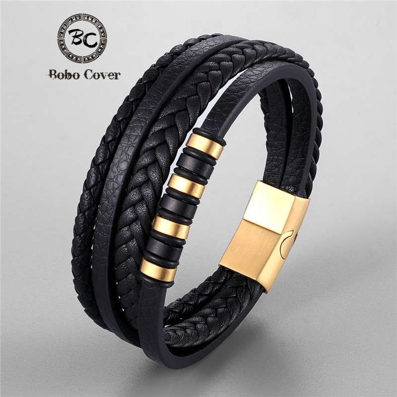 Fashion Multi-layers Braided Genuine Leather Bracelet Wristband Stainless Steel Charm Bracelets Men Women Luxury Jewelry homme