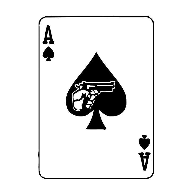 11.1cm*15.8cm Card Poker Ace Revolver Gambling Vinyl Car