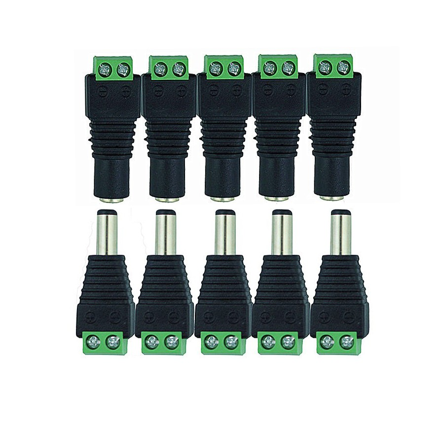 100pcs/lot CCTV Cameras 2.1mm x 5.5mm DC Connector CCTV UTP Cable Power Plug Adapter Cable DC/AC Camera Video Balun Connector 100 pcs cctv video balun 5 5x2 1mm dc power plug terminals connector detachable