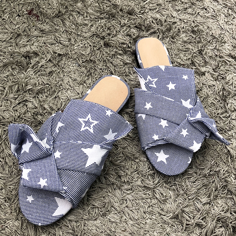 2018 New Chic Women Slipper Peep Toe Bow Tie Summer Outdoor Beach Women Flats Stars Pattern Shoes Brand Cozy Shoes Fashion Shoe fashion stars and stripes pattern bow tie for men