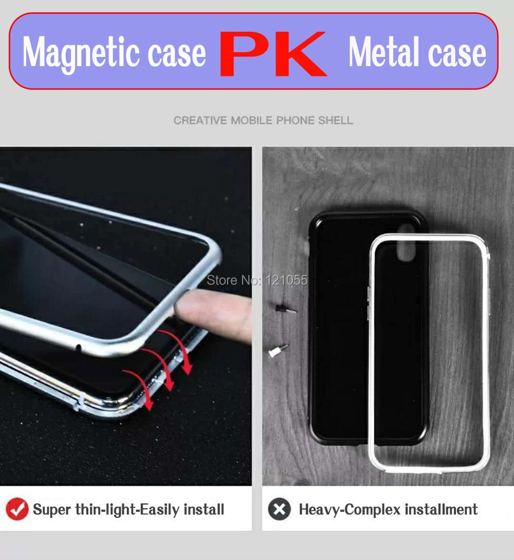 Image 4 - 2018 New magnet cover for iphone case magnetic metal bumper ultra thin shell tempered glass full body adsorbtion wholesale lot-in Fitted Cases from Cellphones & Telecommunications