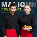 Uniformes Chef longo-manga outono e inverno do hotel restaurante do hotel restaurante cozinha após o preto macacão