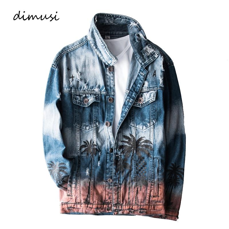 DIMUSI Mens Denim Jacket Fashion Trendy Ripped Denim Coats Mens Jeans Bomber Jacket Outwear Windbreaker Cowboy Coats Clothing