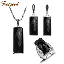 Feelgood Fashion Jewellery Long Cut Black Resin Silver Color Vintage Jewelry Sets With Necklace Earring Ring Women Party Gift