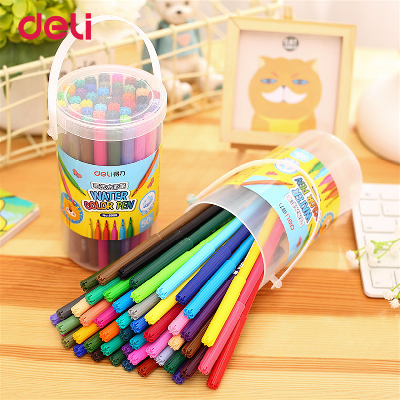 Deli 50 Colors Washable Watercolor Pens Marker water color mark pen Painting stationery Drawing Kids Artist student Supplies student children washable markers drawing painting watercolor pen gram pen hand painted graffiti kids gifts
