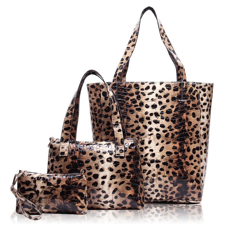 Purses and Handbags High Quality Patent Leather Luxury Leopard Women Bag Famous Brand Shoulder Bags Sac A Main 3pcs/set hot european and american style fashion women bags high quality luxury leather handbags women messenger shoulder bag sac a main