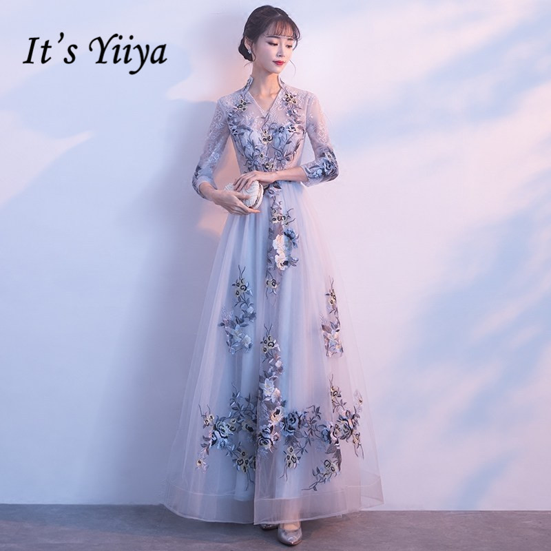 It's YiiYa High Collar Illusion Three Quarter Sleeves Embroidery Zipper Party Frocks   Dresses   Floor Length   Evening     Dress   LX012