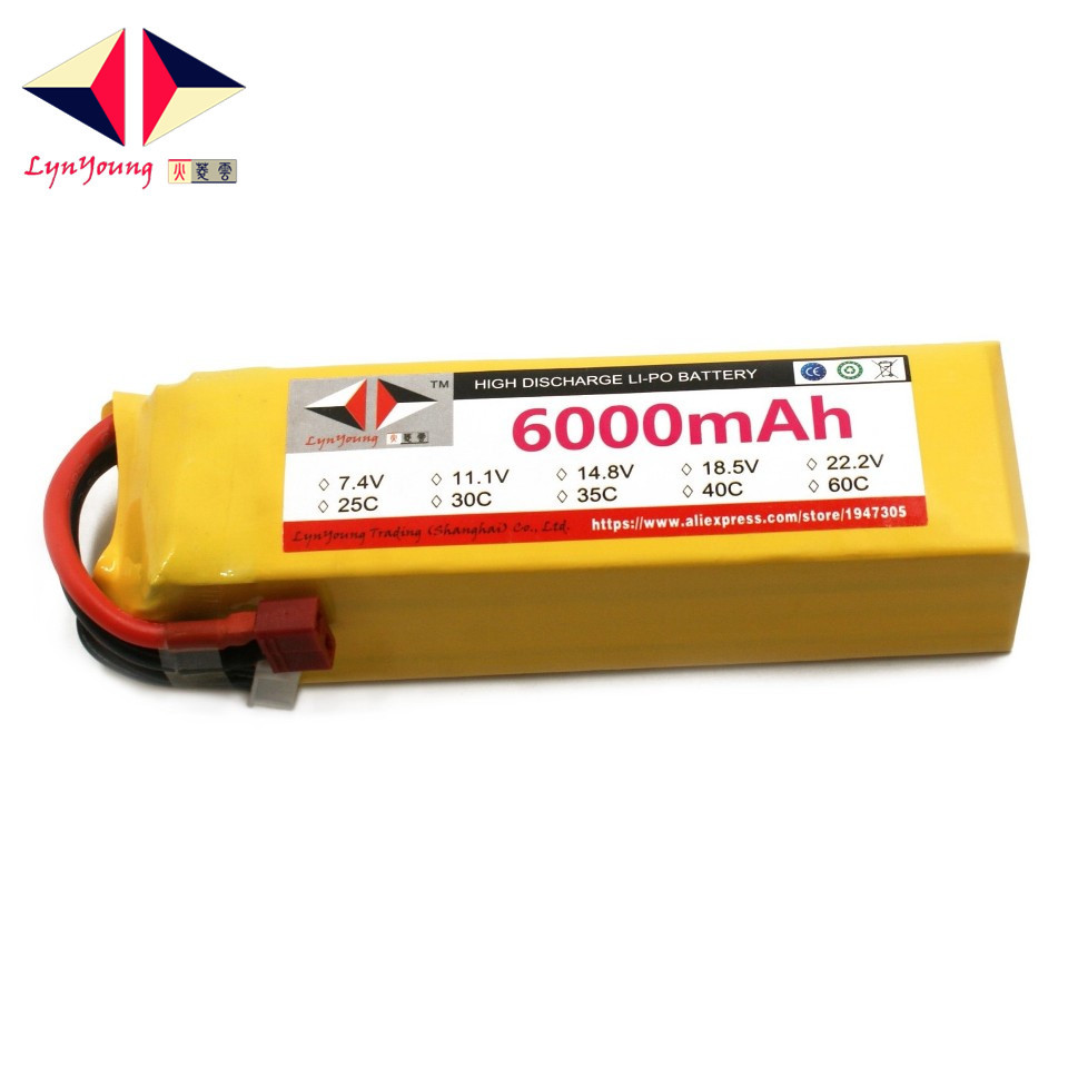 LYNYOUNG RC airplane LiPo battery 14.8V 6000mAh 4S 60C-120C For car truck quadcopter helicopter drone lipo battery 7 4v 2700mah 10c 5pcs batteies with cable for charger hubsan h501s h501c x4 rc quadcopter airplane drone spare