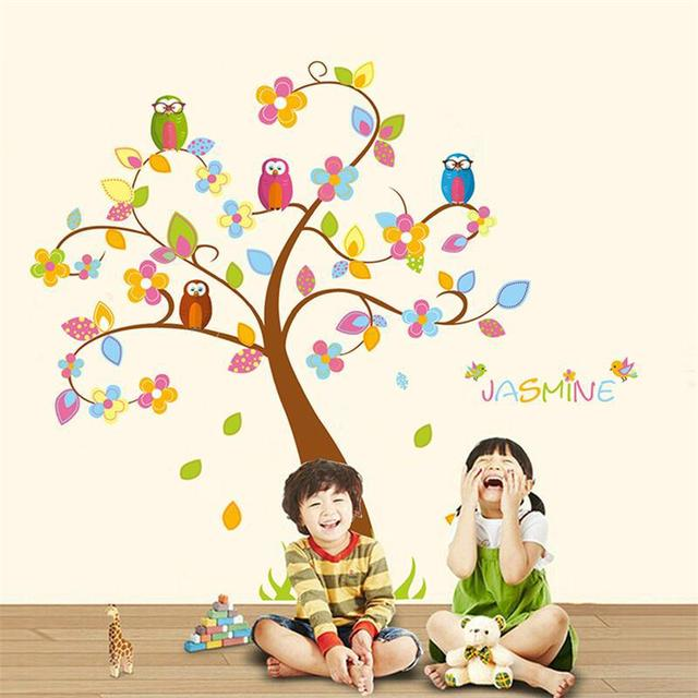 Funny kids toy cartoon happy animal tree removable cost price home decal wall stickers nursery