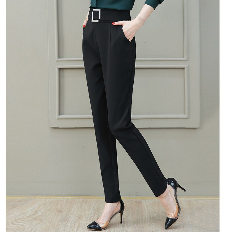 2019 Summer Autumn Women Harem Pants Slim Work Office Lady Pants Sequined Elastic High Waist Casual Trousers
