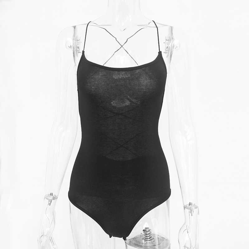Articat пикантные на шнуровке женское боди с вырезом на спине крест бандажи комбинезоны летний комбинезон Повседневное облегающий костюм Для женщин Топы Верхняя одежда