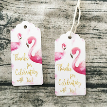 50pcs Flamingo Paper Gift Tag Labels Hanging Cards Thank You DIY Crafts for Birthday Wedding Party Decoration Accessory home