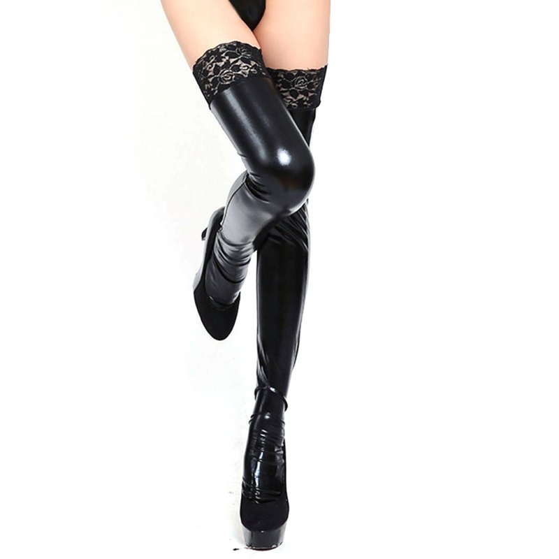 2019 Fashion Lady Women PU Leather Look Leggings Wet Look Trousers Sexy Lace Stay-Up Stocking Hot
