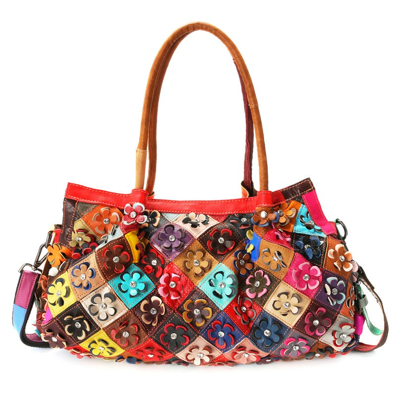 все цены на AEQUEEN Ladies Casual Totes Women Patchwork Handbag Floral Genuine Leather Shoulder Bag Fashion Designer Bolsas Feminina Large