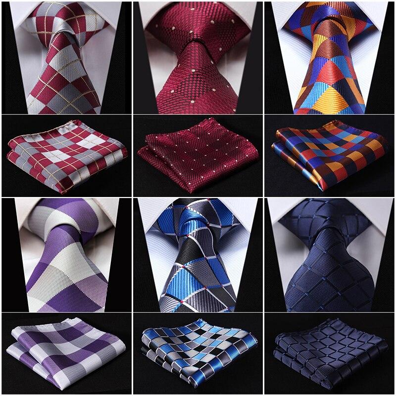 Vérifier 3.4 Soie De Mode Mens Extra Long Cravate Cravate Mouchoir Set # Q5 Poche Carré Classique Partie De Mariage