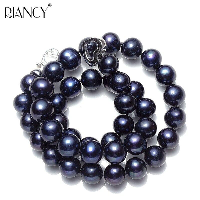 78163aa3890d Collar de perlas negras de agua dulce genuino para boda collar de perlas  naturales joyería de plata de ley 925 para niñas regalos de cumpleaños