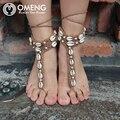 OMENG corda artesanal Crochê Sandálias Descalças Tornozeleira Crochet knit shell Luvas de Dança Yoga Tornozeleira frisado pé ornamentos OJL010