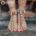 OMENG handmade rope Anklet Crochet Barefoot Sandals Crochet knit shell beaded foot ornaments Dancing Yoga Mittens Anklet OJL010