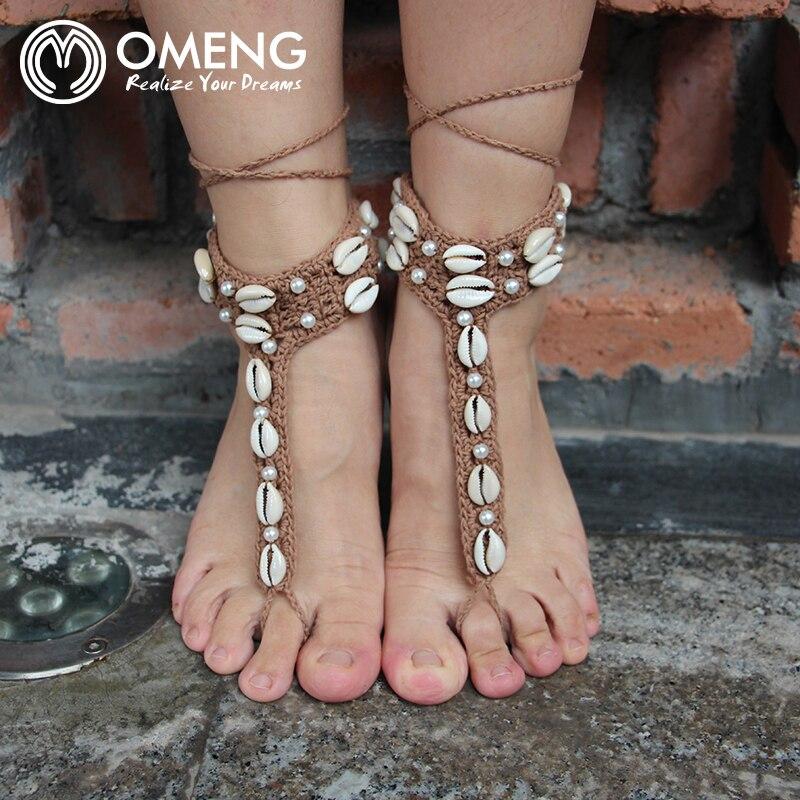 Tienda Online Omeng crochet las sandalias descalzas tobillera cuerda ...