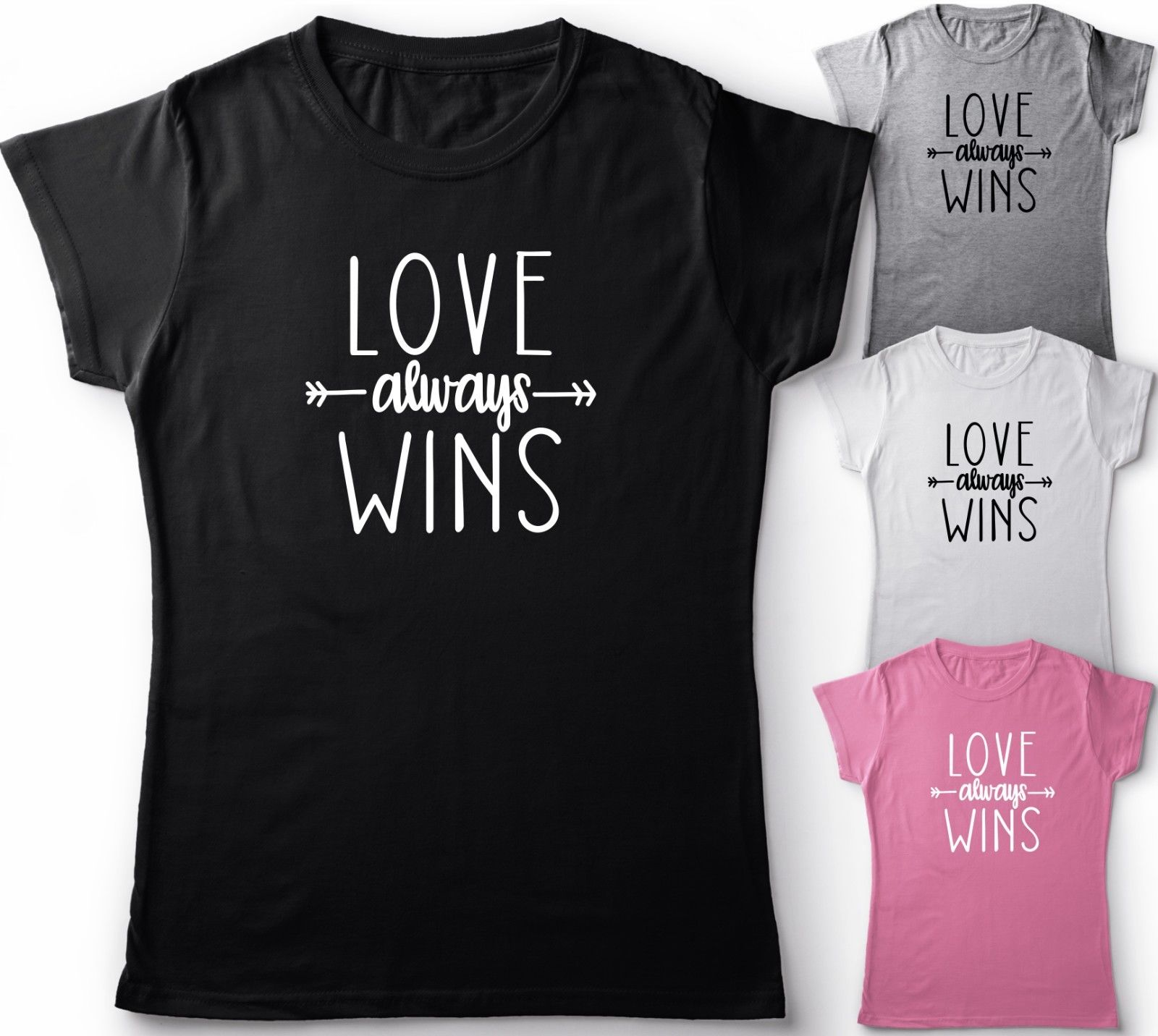 cd778d5dc LOVE ALWAYS WINS UNISEX /LADIES T SHIRT LOVE SLOGAN TOP PARTY GIFT IDEA TEE  Summer Casual Man Good Quality free shipping