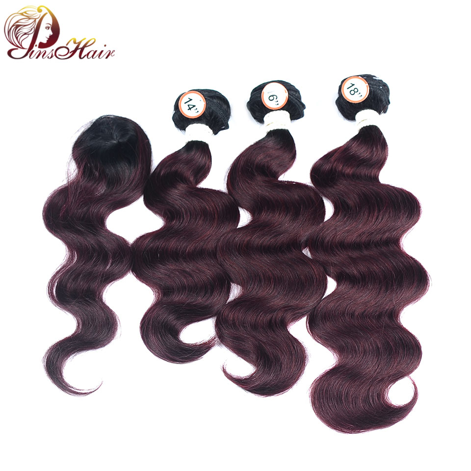 Body Wave Peruvian Hair 3 Bundles With Closure Human Hair With Bundles 1B Burgundy Red Hair Can Be Restyle Nonremy Hair Pinshiar