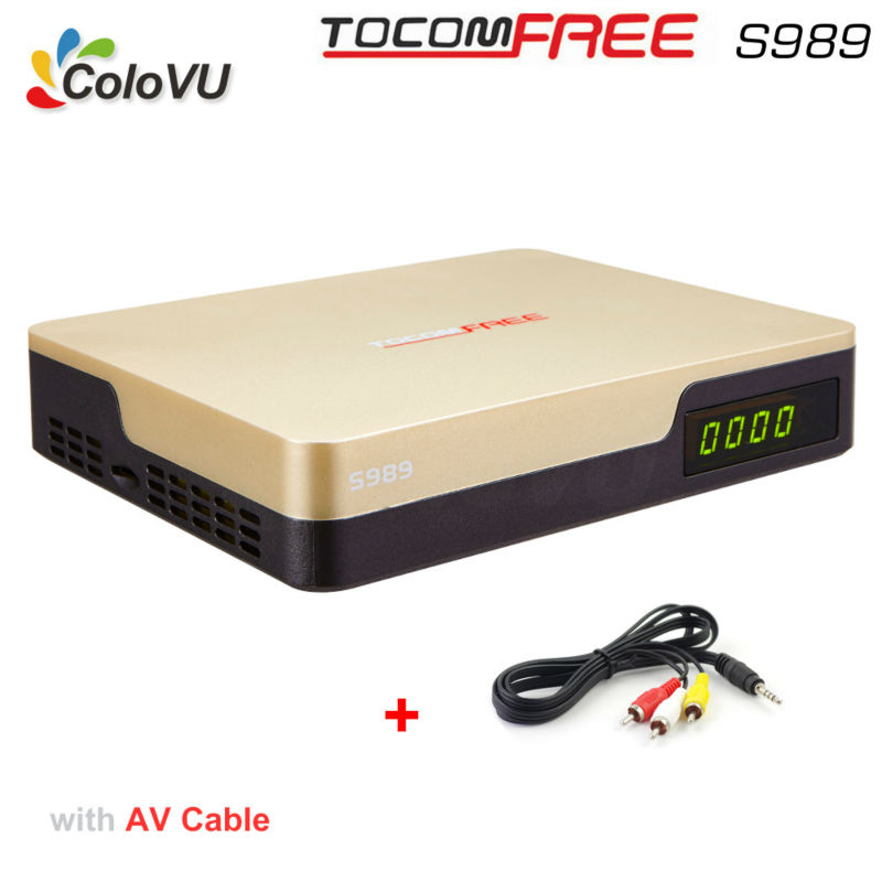 New Arrival Satellite TV Receiver TocomFree S989 + AV Cable with Free IKS SKS IPTV Full HD DVB-S/S2 Receiver for South America  digital hd satellite dvb t2 s2 s combo tv receiver receivable for iptv youtube cccam iks bisskey wifi dongle dvb t2 s2 tv tuner
