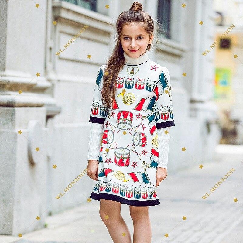 Kidsalon Wedding Dress Robe Fille Enfant 2017 Winter Girl Dress / Autumn Baby Girl Princess Dress Printed Vestidos Girls Clothes стоимость