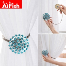 Fashion Eco-friendly Colorful Creative Crystal Diamond Magnet Curtain Clasp Ribbon Curtain Accessories Curtain Holder Clips -30