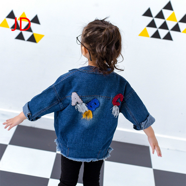 In The Spring Of 2017 New Childrens Clothing Boy Girl Letter ABC All-match Fringed Denim Shirt Cowboy Coat