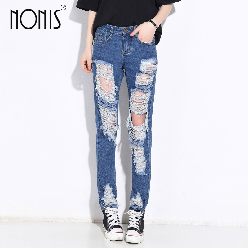 Nonis hole ripped women pants cool denim vintage straight Boyfriend jeans for girl Mid waist casual pants female pantalon 2017 ripped boyfriend high waist jeans for women torn cool denim vintage straight pockets hole bleached washed jeans femme