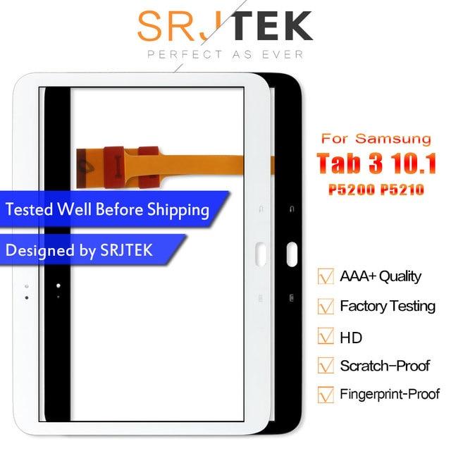 Srjtek P5200 لوحة اللمس لسامسونج غالاكسي تبويب 3 10.1 P5200 P5210 محول الأرقام بشاشة تعمل بلمس لوحة الاستشعار الزجاج استبدال أجزاء