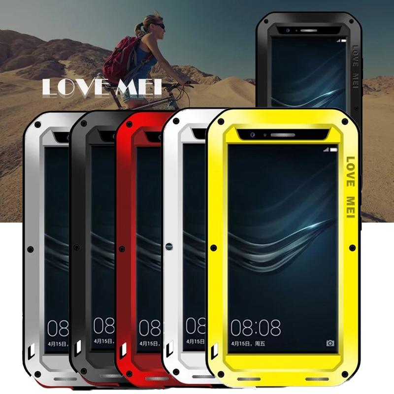 imágenes para Amor Mei caso huawei huawei p9 p9 más casos de la cubierta de metal a prueba de agua A Prueba de Golpes más caja del teléfono de Cristal Templado