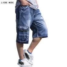 Mens Summer Hiphop Denim Baggy Jeans Shorts Men Plus Size Big Cargo Pocket Shorts Jeans For Men Calf Length Denim Shorts 30-46