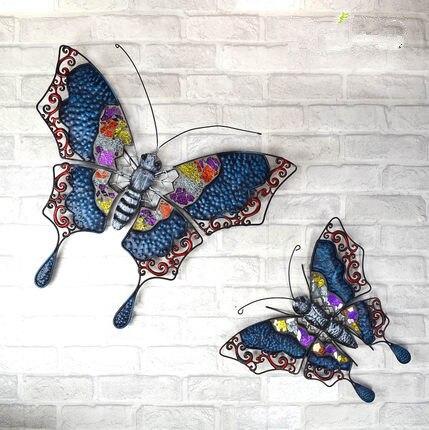 Fer papillon mur décoratif fonds d'écran européen pastorale créative sangle décorative rétro mur méditerranéen décoration murale