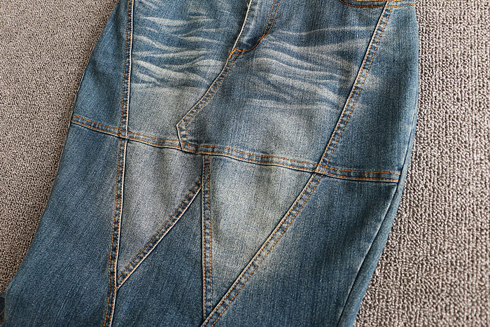 Image 5 - Big Fish Tail Denim Skirt Women Long Skirt Floor Length Patchwork Mermaid Trumpet Empire High Waist Jeans Stretchy J92792-in Skirts from Women's Clothing