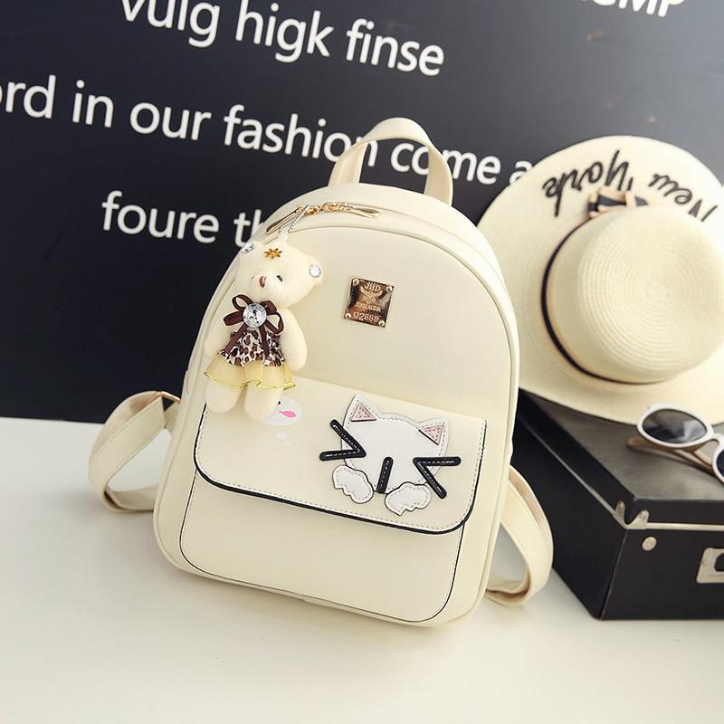 Cat Girls PU Leather Small Backpack Women Back Pack Bag Japan Korea Teenage Student School Travel