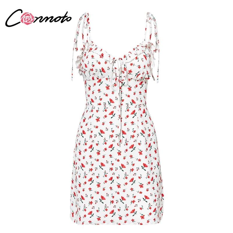 Conmoto Casual Floral Print Short Dress Women 19 Summer Holiday Sexy Beach Chiffon Dress Dress Femme Lace Up Dress Vestidos 14