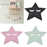 Lychee 1pc Star Sleeping Eyes Wall Sticker Wall Hanging Wooden Eyelash Home Decoration