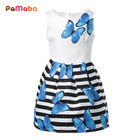 PaMaBa Summer Violet Butterfly Print Children's Dress-up Soft A-Line Casual Dresses for Girls Soft Fashion Kids Clothing Vestido