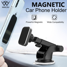 XMXCZKJ Universal Magnetic Phone Holder For iPhone Xs Max X 8 Telescopic Suction Cup Car Windshield Dashboard Mount With Cradle