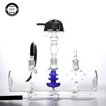 80 мм Диаметр бака MP5 стеклянный кальян с цветным стеклом черный синий внутренний фильтр кальяна водопровод толстое стекло chicha