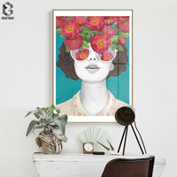 ZeroC Nordic Posters And Prints Flower Girl Portrait Wall Art Canvas Painting Pictures For Living Room Scandinavian Home Decor